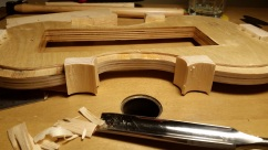 Blocks are shaped with an in-channel gouge, Only the inside of the c-bouts at this point.