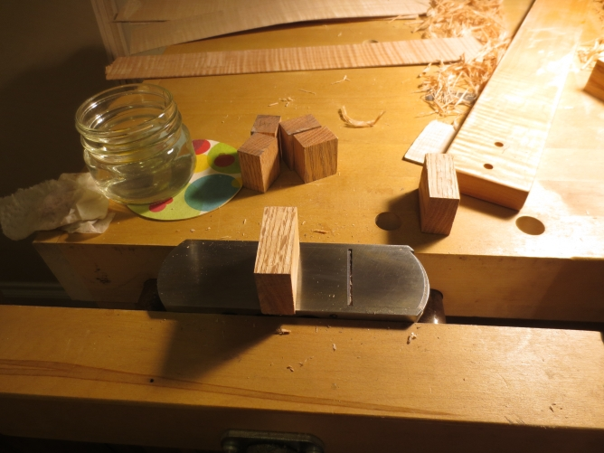 Planing down blocks to create the counter molds. A little water makes the cutting easier.